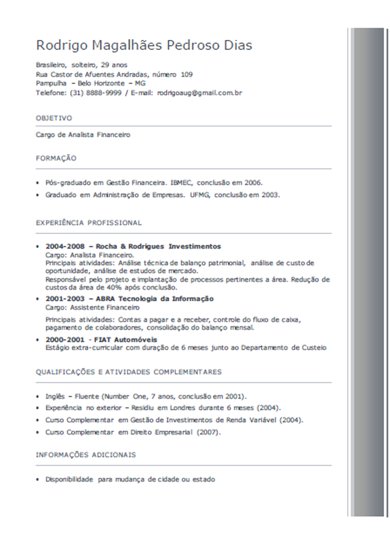 Curriculum Vitae Brasil Modelo