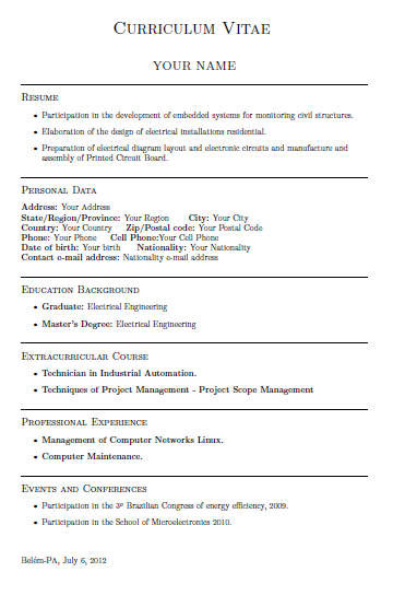 model curriculum latex  english version